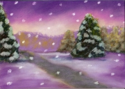 dessin paysages neige sapin hiver chemain : neige